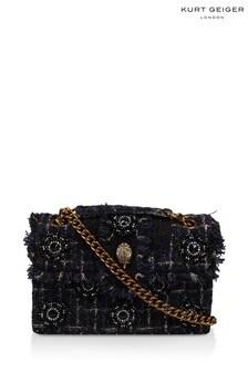 Kurt Geiger London Navy Tweed Kensington X Fabric Bag