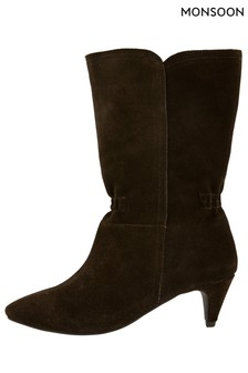 Monsoon Brown Mid-Calf Suede Boots