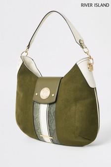 River Island Khaki Medium Scoop Padlock Slouch Bag