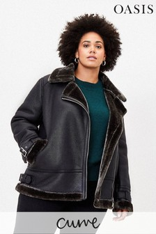 Oasis Black Curve Faux Shearling Biker Jacket