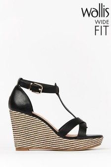 Wallis Whimsey Wide Fit Black T-Bar Wedge Feature Sandals