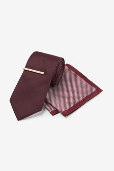 Wider Blade Tie With Geometric Pocket Square And Tie Clip Set