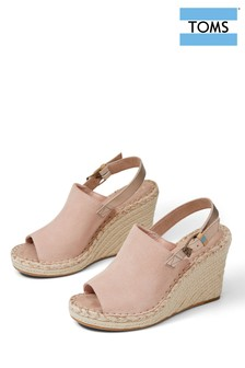 TOMS Pink Leather Monica Wedge Shoes