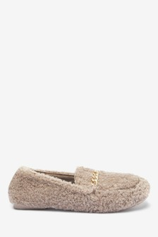 Chain Detail Moccasin Slippers