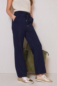 Jersey Denim Slim Leg Trousers