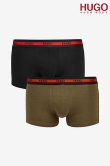 HUGO Green Logo Waistband Boxers Two Pack