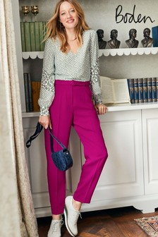 Boden Purple Christina Belted Trousers