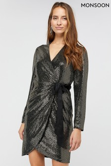 Monsoon Gold Trinity Tux Sequin Dress