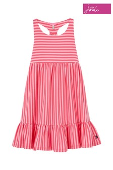 Joules Pink Juno Tiered Dress
