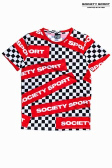 Society Sport Kids Mono Check Logo T-Shirt