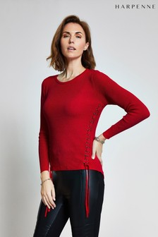 Harpenne Red Eyelet Detail Jumper