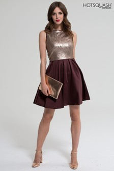 HotSquash Chocolate Sleeveless Sequin Amber Dress