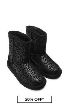 Girls Black Classic Glitter Leopard Boots
