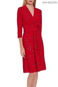 Gina Bacconi Red Miranda Jersey Dress With Tie Belt