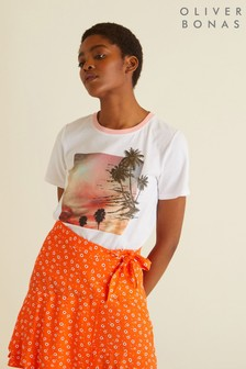 Oliver Bonas Orange Ditsy Mini Skirt