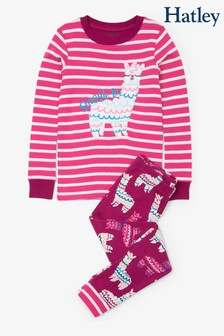 Hatley Pink Adorable Alpacas Organic Cotton Appliqué Pyjama Set