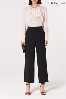 L.K. Bennett Black Florence Wide Leg Wool Trousers