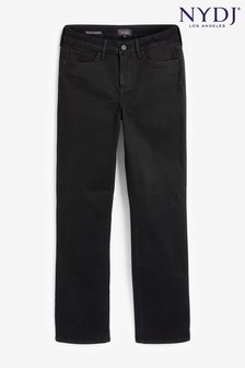NYDJ Marilyn Straight Leg Black Jeans With Embellished Pocket