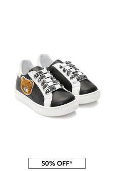 Girls Black Leather Trainers