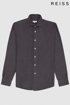 Reiss Grey Knight Dark Wash Denim Shirt