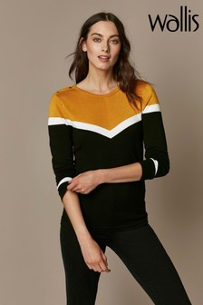 Wallis Ochre Colourblock Chevron Jumper