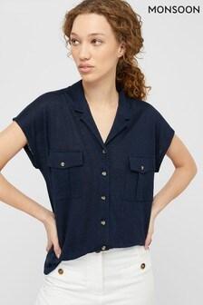 Monsoon Blue Leena Linen Button Down Shirt