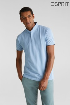 Esprit Blue Polo With Differently Coloured Piping On Edges