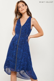 Mint Velvet Blue Hope Print Zip Cocoon Dress