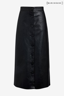 Warehouse Black Faux Leather Midi Skirt