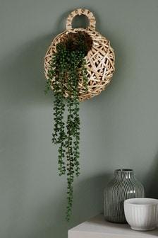 Sztuczna pnąca roślina w koszu do powieszenia na ścianie