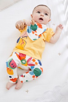 3 Piece Fruit T-Shirt, Legging And Bib Set (0mths-2yrs)