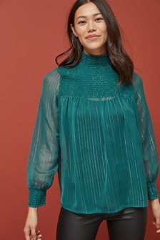 High Neck Smock Long Sleeve Top