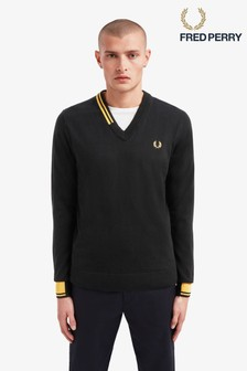 Fred Perry Abstract Tipped V-Neck Jumper
