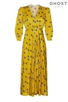 Ghost London Yellow Madison Fan Print Satin Dress