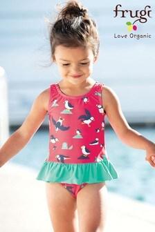 Frugi UPF 50+ Pink Puffin Swimming Costume