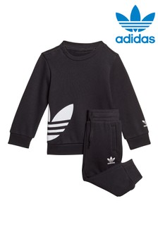 adidas Originals Little Kids Black Crew And Joggers Set