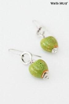 White Stuff Green Heart Ceramic Earrings