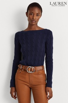 Lauren Ralph Lauren® Navy Cotton Cable Ajanon Jumper