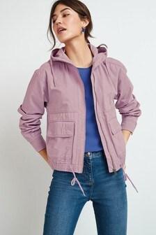 Cropped Cotton Bomber Jacket