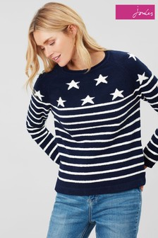 Joules Blue Seaport Roll Neck Raglan Jumper
