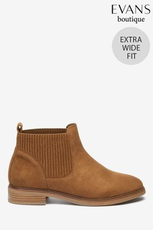 Evans Extra Wide Fit Brown Elastic Chelsea Boots