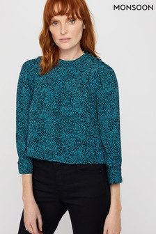 Monsoon Ladies Teal Annabelle Animal Print Top