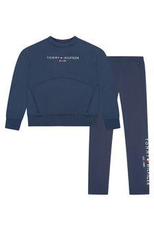 Tommy Hilfiger Girls Navy Cotton Leggings Set
