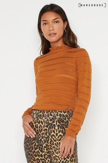 Warehouse Tan Ruffle Detail Stitch Jumper