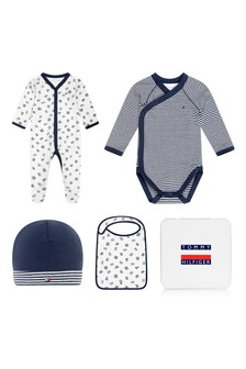 Baby Boys White Cotton Babygrow Gift Set