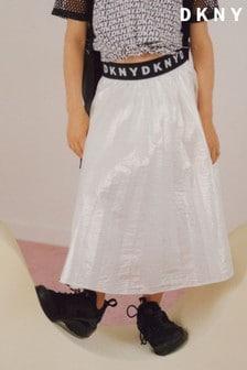 DKNY White Midi Skirt