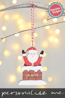 Personalised Santa Hanging Decoration by Oakdene Designs
