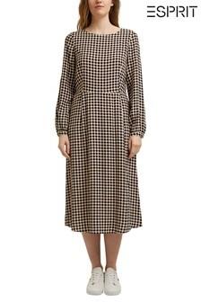 Esprit Brown Print Midi Dress