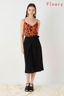 Finery London Black Akenside Button Front Wrap Skirt