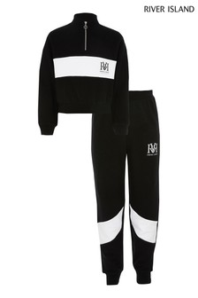 River Island Black Mono Block Track Set